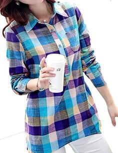 Locry Womens Autumn Cotton Casual Plaid Buttonup Shirts XXL Multicolor -- You can find out more details at the link of the image.
