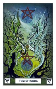 July 25 Tarot Card: Two of Pentacles (Dragon deck) Focus your attention and intentions now ... when you seek balance among the most important facets of your life, everything else falls into place