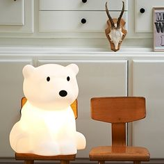 Mr Maria is a Dutch design studio based in Amsterdam. The studio was founded by Jannes Hak and Lennart Bosker. Mr Maria is a brand with a playful artistic character. Little People, Little Ones, Lampe Miffy, Polar Cub, Polar Bears, Kid Spaces, Nursery Decor, Nursery Lamps, Nursery Ideas