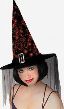 Fiber Optic Web Black Witch Hat