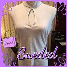 ⚡️REDUCED!⚡️ LAVENDER/GREY SUEDED TOP FROM BEBE Slightly fitted with mock turtle and keyhole front, slits on shoulders. Back zip, unlined. Only worn a few times, so soft!  94 poly / 6 spandex. bebe Tops