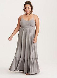 Plus Size Tiered Jersey Maxi Dress, HEATHER GREY