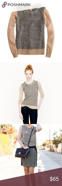 J. Crew Collection Jewel Collar Sweater Beautiful jewel collar herringbone sweater from J. Crew Collection. Size XXS. Excellent pre worn condition! Only one smaller jewel missing from Collar. No trades or try ons! J. Crew Sweaters