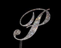 "Handmade Custom Swarovski Crystal 6"" Monogram Rhinestone Cake Topper Any Letter A B C D E F G H I J K L M N O P Q R S T U V W X Y Z."