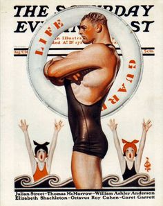 """cMag485 - The Saturday Evening Post Magazine cover """"Life Guard"""" by J. C. Leyendecker / August 1924"""