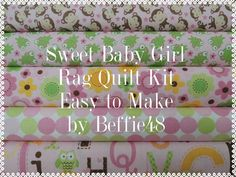 Sweet Baby Girl Rag Quilt Kit, Easy to Make, Personalized