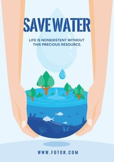 How to design impressive save water poster? Life is nonexistent without water.You can find more save water poster templates by Fotor Design Maker.  Click it now!