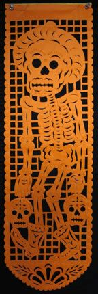 orange skeleton cabellero banner.  i love papel picado