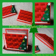 """Plastic Canvas: Christmas Tree Napkin Holder (from """"Ready, Set, Sew!"""" by Evie . . .look for an Etsy shop in 2014!)"""