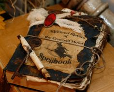 Primitive Witches Spellbook, Halloween, Witch, Goblin, Black Cat, Jack-O-Lantern, Bat, Skull, Ghost, Spooky, Full Moon, Pumpkin, Trick or Treat, Autumn, Fall, Haunting, Scarecrow, Magic Potion, Creepy, Spells