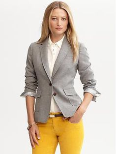 Love the gray blazer with the tangerine cord pants!                          I heart Banana Republic!