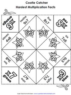 Awesome Multiplication Cootie Catchers Fortune Tellers Orgami Project Makes Learning Math Facts Fun in Super Teacher Worksheets Multiplication Math For Kids, Fun Math, Math Resources, Math Activities, Teacher Worksheets, Division Activities, Division Games, Long Division, Math Intervention