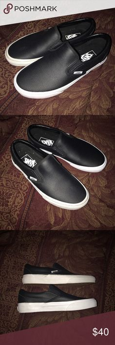 Black Leather Van's slip on in Men 6 and women 7.5 Black leather van's size 7.5 in women and size 6 in men. These shoes are new and unused but I'm not selling them as new. I don't have the box. Shoes are flawless. Vans Shoes Sneakers
