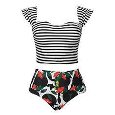 eaba053dd4bfb Cupshe Women Stripe Top Floral Bottom High-waisted Swimsuit Brazilian Bikini  Set Beach Bathing Suit Push Up Swimwear