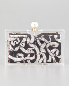 Pandora Pearly-Clasped Perspex Clutch by Charlotte Olympia at Bergdorf Goodman.