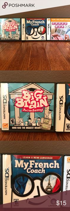Nintendo DS Bundle Big Brain Academy  My French Coach Crosswords Nintendo DS games $15 for all three Nintendo Other