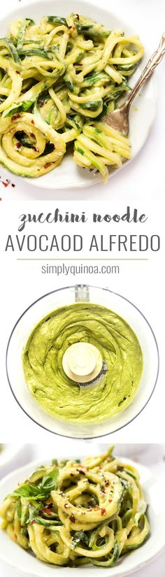 This easy AVOCADO ALFREDO is a twist on the classic but doesn't use any dairy. To lighten things up even more we're using zucchini noodles instead of pasta! Simply Quinoa #avacadoalfredo #alfredo #veganalfredosauce #zucchininoodles #alfredosauce