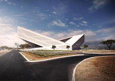 Bustler: BFarchitecture's Brasilia Athletics Stadium entry offers a sharp idea to stadium design Architecture Design, Stadium Architecture, Amazing Architecture, Architecture Sketchbook, Green Architecture, Oscar Niemeyer, Colani, Sports Stadium, Concrete Structure