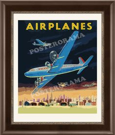 vintage AIRPLANES art POSTER 22 x 26 large Print by POSTERORAMA, $28.00
