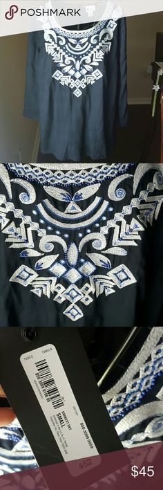 JUST IN🌷🌷🌷 Embroidered top Beautiful dark blue embroidered top with gorgeous beading sewn throughout the white pattern. Brand new never worn! I have the matching shorts as well listed in my closet. 100 % Rayon Tops