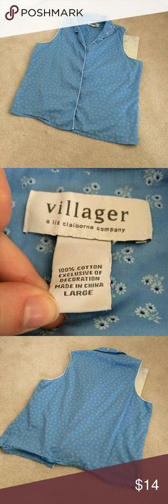 villager liz claiborne womens large pastel daisy excellent condition no flaws resort wear daisy print pattern button up tank scalloped collar villager Tops Tank Tops