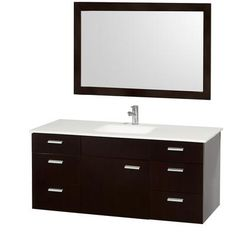 Wyndham Collection - Encore 52 In. Vanity in Espresso with Man-Made Stone Top in White and White Integral Square Sink - WCS400052ESWH - Home Depot Canada