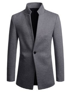 TheLees Mens Slim Fit Swallow Chinese Collar One Button Jacket Blazer Mens Fashion Blazer, Mens Fashion Wear, Suit Fashion, African Wear Styles For Men, Blazers For Men Casual, Mode Costume, Designer Suits For Men, Indian Men Fashion, Men's Coats And Jackets