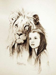 Aslan and Lucy Drawing…love the Narnia books! Narnia 3, Chronicles Of Narnia, Cs Lewis, Wow Art, Art Sketches, Lions, Amazing Art, Awesome, Witch