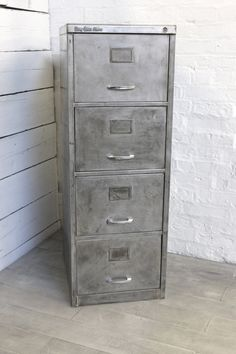 Reclaimed Vintage Urban Industrial Withy Grove Stores 1970u0027s Stripped Steel  4 Drawer Filing Cabinet   Reclaimed