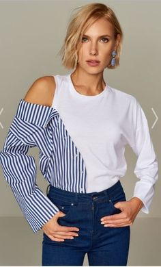 Trendy t-shirt ideas diy clothes Fashion Details, Diy Fashion, Ideias Fashion, Fashion Outfits, Fashion Tips, Fashion Design, Fashion Trends, Sewing Clothes, Diy Clothes