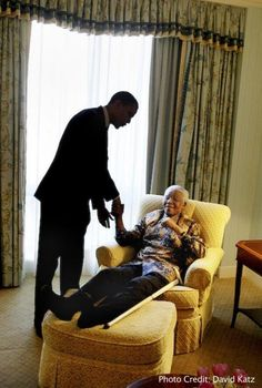 U.S. Pres. Barack Obama and Nelson Mandela