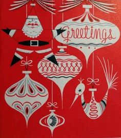 red and white ornament vintage Christmas greeting card image