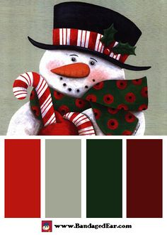 Christmas Color Palette: Candy Cane Greetings, Art Print by Diane Arthurs