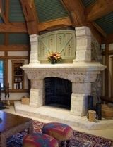 A heartwarming hobbit fireplace plus your favorite chair equals a perfect place to curl up with a book by J. Cottage Fireplace, Home Fireplace, Fireplace Surrounds, River Rock Fireplaces, Outdoor Stone Fireplaces, Stone Fireplace Designs, Stone Mantel, Fireplace Pictures, Stone Chimney