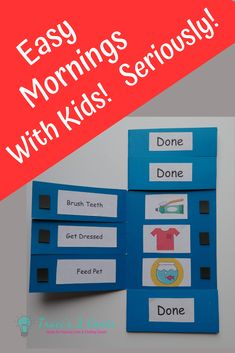 Easy Mornings With Kids! - Save yourself a headache in the morning with my free Task List printables and instructions to make - Daily Routine Chart For Kids, Morning Routine Chart, Morning Routine Kids, Charts For Kids, Toddler Routine Chart, Toddler Learning Activities, Kids Learning, Kinder Routine-chart, Angst Tattoo