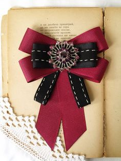 Velvet Bow Tie, Black Bow Tie, Fabric Flower Brooch, Fabric Flowers, Sister Gifts, Gifts For Mom, Women Bow Tie, Rhinestone Bow, Brooches Handmade