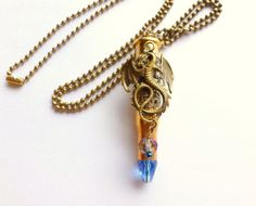 Dragon Bullet Necklace  Blue Crystal Tip  Game of Thrones Inspired  Gothic Primitive  Jewelry