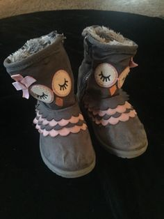 410fb132b8d Little Girls Gray Owl Boots Faux Fur Lining Size 10 By Cat N Jack  fashion