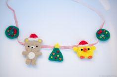Rilakkuma Christmas Garland tutorial Christmas DIY needle felt decor by Kawaii Felting