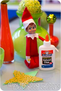 Elf on a Shelf Mr. Jingles is making macaroni stars today, isn't that everybody's favorite holiday project? :)