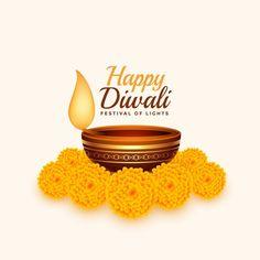 Free Vector   Happy diwali card with diya and marigold flower Diwali Greeting Cards, Diwali Greetings, Diwali Wishes, Diwali Cards, Happy Diwali Poster, Happy Diwali Images Hd, Indian Festival Of Lights, Festival Lights, Diwali Vector
