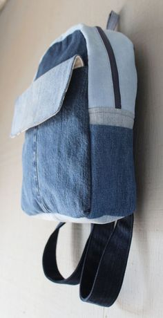 Denim and Canvas Backpack with Large Front Velcro Pocket, Two Side Pockets, Two Interior Pockets and Zipper Top by AllintheJeans on Etsy Denim Backpack, Denim Bag, Canvas Backpack, Bag Patterns To Sew, Sewing Patterns, Big Tote Bags, Denim Crafts, Recycle Jeans, Recycled Denim