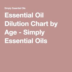 Essential Oil Dilution Chart by Age - Simply Essential Oils
