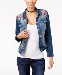 INC International Concepts Embroidered Denim Jacket, Only at Macy's