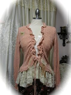 Upcycled Pink Sweater soft ruffled lace by TatteredDelicates, $85.00