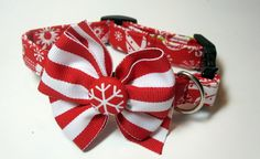 Red and Green Christmas Collar size Extra Small by jeanamichelle, $12.50