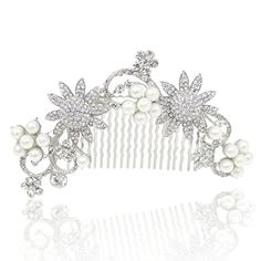 EVER FAITH Wedding 4 Inch SilverTone Sunflower Simulated Pearl Clear Austrian Crystal Hair Comb *** Want additional info? Click on the image.(This is an Amazon affiliate link and I receive a commission for the sales)