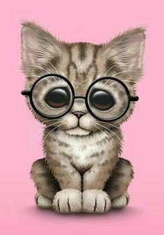 Cute Brown Tabby Kitten Wearing Eye Glasses, teal by Jeff Bartels Cute Kittens, Cats And Kittens, Siamese Cats, Cartoon Pics, Cute Cartoon, Animal Pictures, Cute Pictures, Cute Animal Drawings, Cute Baby Animals