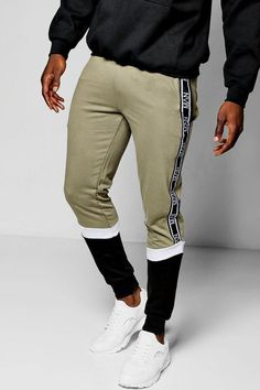 boohoo Skinny Fit Colour Block MAN Tape Joggers