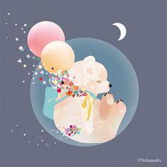 LARGE Baby Nursery Bear Art Print   'Sky Bear' by by schmooks